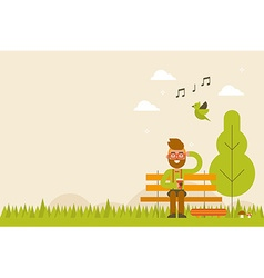 Hipster in spring background vector