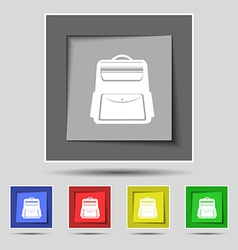 School backpack icon sign on original five colored vector