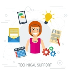 Technical support flat vector