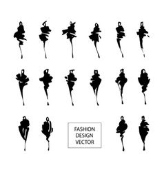 Fashion silhouettes set vector