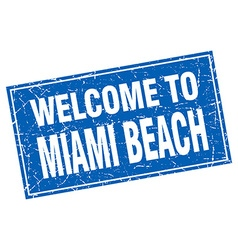 Miami beach blue square grunge welcome to stamp vector