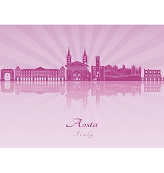 Aosta skyline in purple radiant orchid vector