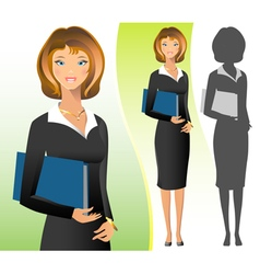 A business woman wearing a suit smiling standing vector