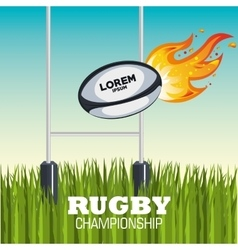 Ball rugby flames field design vector