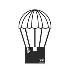 black silhouette parachute with cardboard box vector image vector image