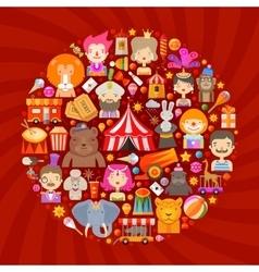 Circus logo design template fun fair or vector