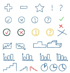 Colourful doodle icons vector