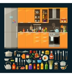cooking icons set modern kitchen furniture and vector image