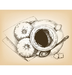 Cup of coffee and donuts vector