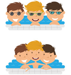 cute cheerful boys relaxing in the pool vector image vector image