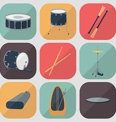Drum flat icons flat design shadow vector