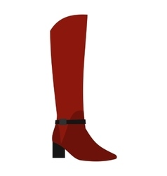 Female red fashion boots icon flat style vector