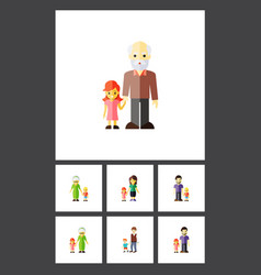 Flat icon people set of boys father grandchild vector