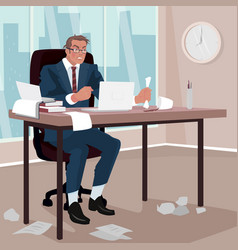 furious businessman in office vector image