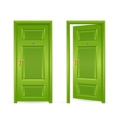 Green door open and closed vector