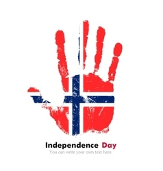 Handprint with the norwegian flag in grunge style vector