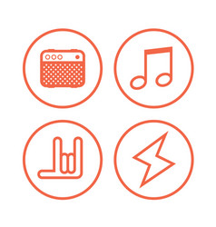 icon of rock music symbols vector image vector image