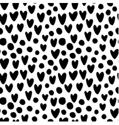 ink hand drawn hearts and circles seamless pattern vector image vector image
