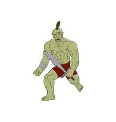 Orc warrior wielding sword running cartoon vector