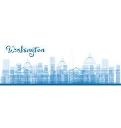 Outline Washington DC City Skyscrapers in blue vector image vector image