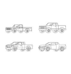 Pickup truck modern design models set vector