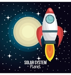 rocket ship solar system isolated vector image vector image