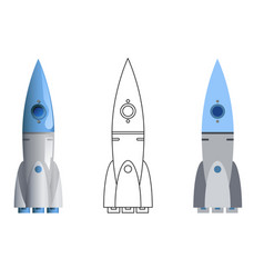 Rocket symbol 3d line art flat icons set isolated vector
