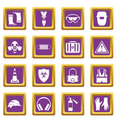 safety icons set purple vector image