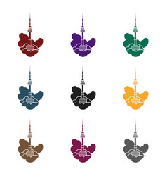 seoul tower icon in black style isolated on whit vector image