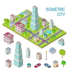Set of City Buildings in Isometric Projection vector image vector image