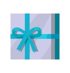 Silver Gift Box with Green Ribbon vector image vector image