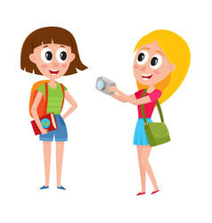 two girls women tourists travelling together one vector image vector image