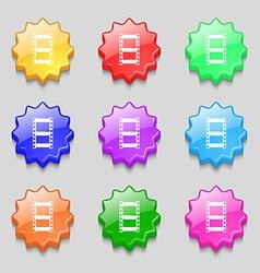 Video sign icon frame symbol symbols on nine wavy vector