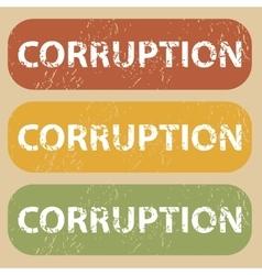 Vintage corruption stamp set vector