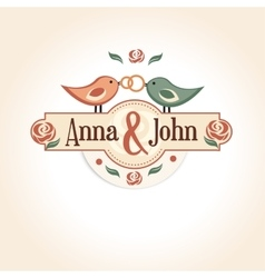 wedding vintage badge in retro design with the vector image vector image