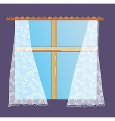 Window with lace curtain vector