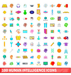 100 human intelligence icons set cartoon style vector image vector image