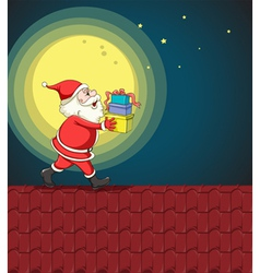 Santa claus and gifts vector