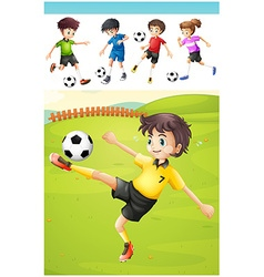 Kids playing football on the lawn vector