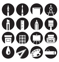 Icons attributes of art in circles vector