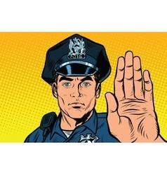 Retro police officer stop gesture vector