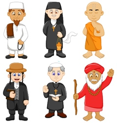 Collection of religious leader cartoon vector