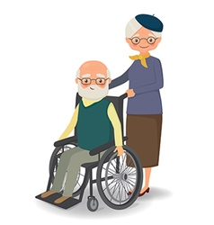 Elderly woman strolling with disabled elderly man vector
