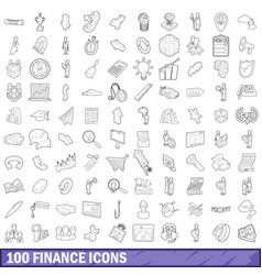 100 finance icons set outline style vector image