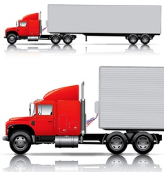 red semi- truck with trailer vector image