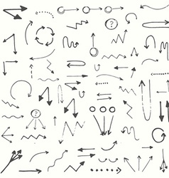 Hand drawn simple arrows set vector