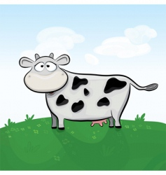 Cow in field vector