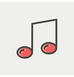 Music note thin line icon vector