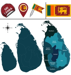 Sri lanka map with named divisions vector