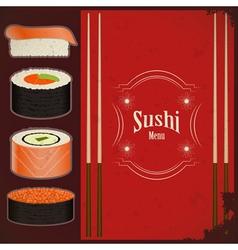 Vintage sushi menu vector